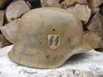 M42 WAFFEN-SS SD GREEN LOOP CAMO HELMET (Restored)
