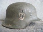 M42 EF68 WAFFEN SS SD HELMET IN DRAB GREEN CAMO PAINT(W-01)